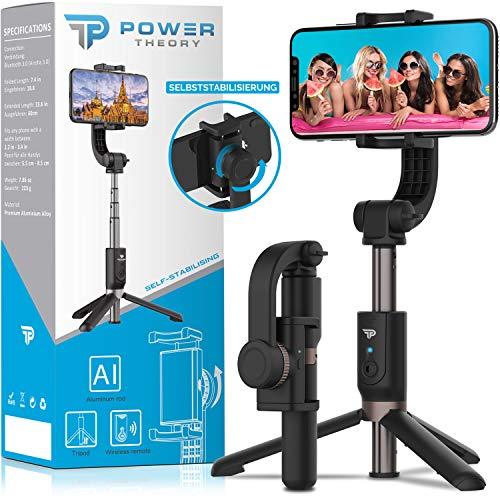 Power Theory Gimbal Palo selfie con trípode,Bluetooth palo selfie con estabilizador para iPhone 11 Pro/XR/XS/X/SE2/8/7/6 Plus/Max Samsung Galaxy S20/S10/S9/S8/S7 y todos los móviles[58cm][Bronce mate]