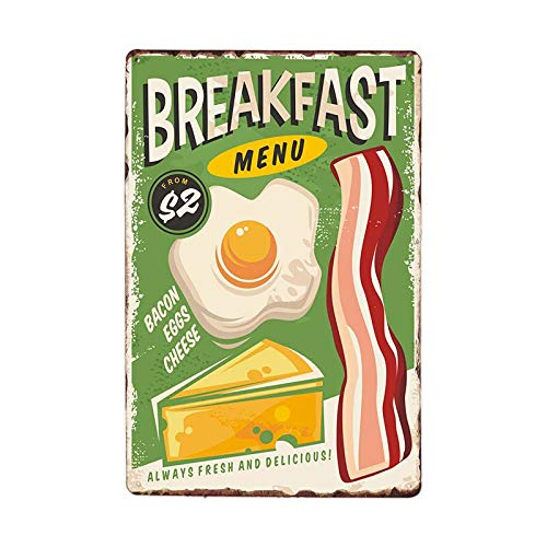 Danny Penaw Breakfast Menu Bacon Eggs Cheese Food Tin Sign Vintage Style Wall Ornament Coffee & Bar Decor 8x12 inches
