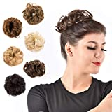 FIND BEAUTY Messy Bun Hair Piece Scrunchies Synthetic Curly Donut Updo Extensions for Women and Girls (Medium Brown)