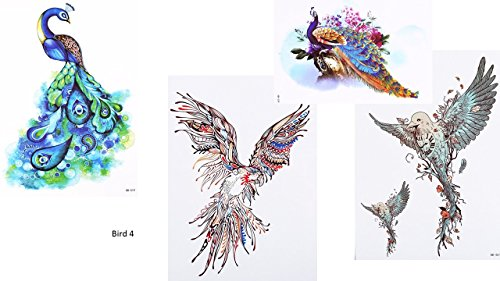 4Sheets Pájaros pavo real Tatuajes Multicolor Flash