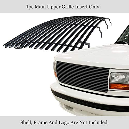 APS Compatible with 1992-1996 Ford Ford F-150 F-250 F-350 & Bronco Main Upper Stainless Steel Black 8x6 Horizontal Billet Grille Insert F85007J