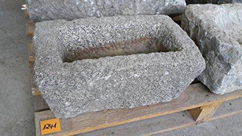 Der Naturstein Garten Alter Trog aus Granit 48 cm lang Brunnen Steintrog - G1241 Granittrog Waschbecken