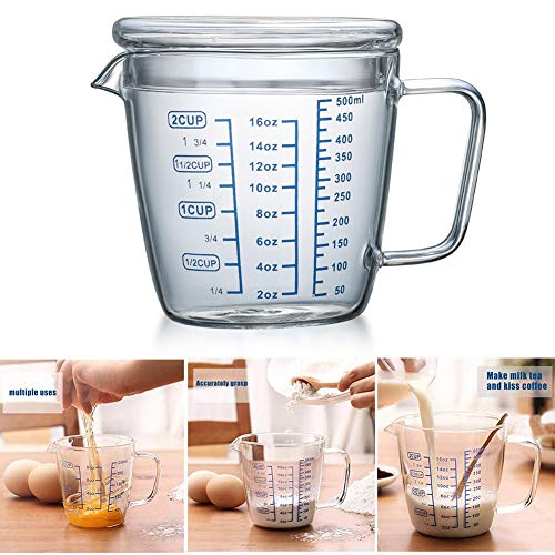 Glass Measuring Cup,500ml Heat Resistant High Borosilicate Transparent Measuring Jug with Lid and Scale Ounce Measure Mug for Microwave,Tea,Cafe,Whiskey,Milk (500ml)