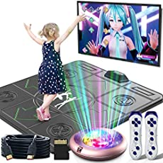 FWFX Dance Mat for Kids and Adults,Non-Slip Massage Dance Pad,Musical Electronic Dance Mat, HD Camera Game Multi-Function Host,Solo User Dance Mat with Wireless Handle, HDMI Interface for TV