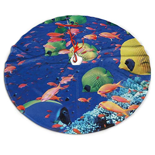 WAYMAY Fish Underwater sea Christmas Tree Skirt 36 inch Rustic Tree Xmas Ornaments Printed Holiday Party Decorations Indoor Outdoor Accessory Gift