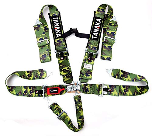 Tanaka SFI 16.1 Latch and Link 5-Point Safety Harness Set with Ultra Comfort Heavy Duty Shoulder Pads (for one seat) (Camouflage)