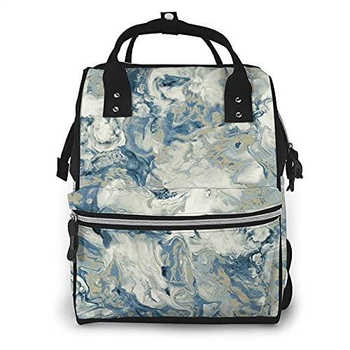 Mármol líquido azul pañal bolsa multifunción bolsas de pañales para el cuidado del bebé impermeable amplia mochila de viaje abierta para la organización