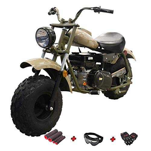 "X-PRO Supersized 200CC Youth Mini bike Gas Powered Mini Trail Bike Scooter mini motorcyle,19"" Wide Fat Balanced Tires! Big headlight! (Quicksand)"