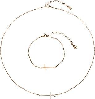 NASAMA Stainless Steel Sideways Cross Pendant Necklace Religious Cross Bracelet Adjustable Jewelry Set