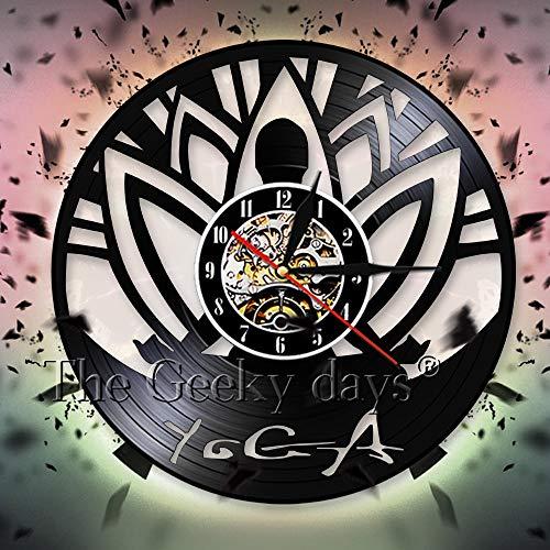 3d dedo luz nocturna yoga auto conocimiento ejercicio disco de vinilo reloj de pared diseño moderno filosofía india reloj de pared decorativo reloj de pared decorativo trípode base lámpara de mesa