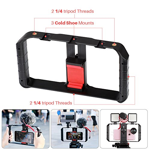 Ulanzi U Rig Pro Smartphone Video Rig, Video Recording Cell Phone Stabilizer, Filmmaking Case, Filming Accessories Movie Making Mount Equipment, Tripod Holder Compatible with iPhone and Smart Phones