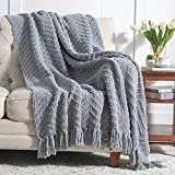 Bedsure Grey Throw Blanket for Couch, Knit Woven Chenille Blanket for Chair, 50 x 60 Inch - Super Soft Warm Decorative Gray Blanket with Tassels for Bed, Sofa and Living Room