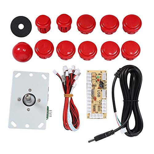 ASHATA Arcade Games DIY Kit, Verlichte knop 5P Rocker Single Kit Geel USB Core Board Arcade Kit, Arcade Joystick Kit Onderdelen USB Encoder naar pc Besturing Games