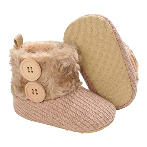 Botas de Bebés Unisexo Zapatos Primeros Pasos Invierno Soft Sole Botas Suaves de Nieve de Suela 0-18 Meses (C_Khaki, 6_Months)