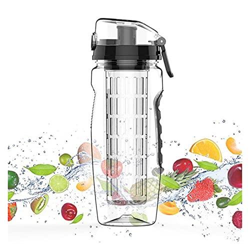 ZZDH Botella de Agua Deportiva 32oz 900ml Fruta Infusor Jugo Shaker Deportes Limón Botella de Agua con Flip Top Portable BPA Gratis Adecuado para Fitness, Deportes al Aire Libre