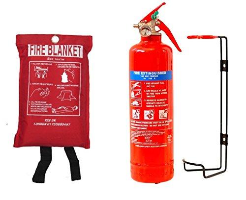 FSS UK, estintore a polvere ABC da 1kg, con coperta antifiamma. Per la cucina o l\'ufficio (etichetta in lingua italiana non garantita)