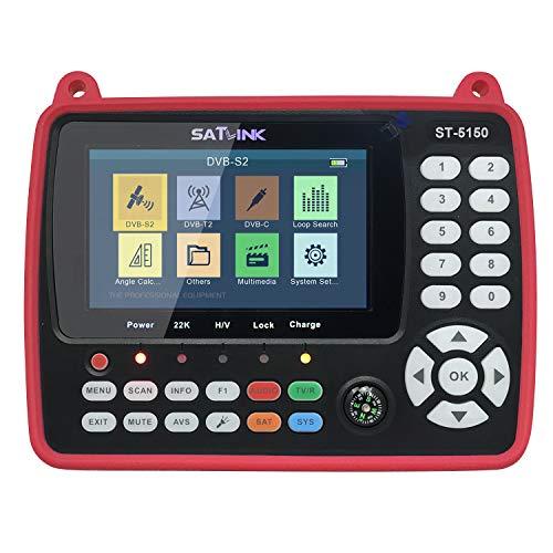 VISLONE ST-5150 DVB-S2 / T2 / C COMBO HD Buscador de señal de TV por satélite Medidor de señal de mano digital Buscador de satélite H.265 HEVC MPEG-4 4.3 pulgadas TFT LCD Enchufe de la UE