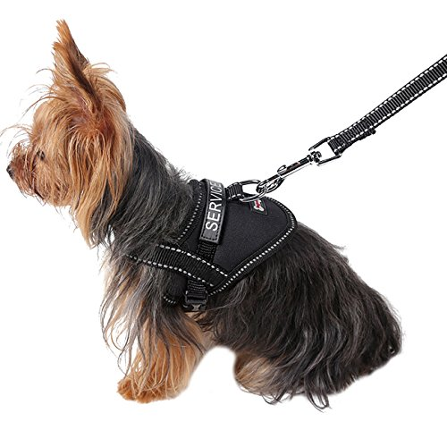 Uheng Service Vest Dog Harness - Adjustable Nylon Vest with Reflective Patches for Little Teddy, Pago, Bichon, Mini Doberman in Training (7-9lbs) (S, Black)