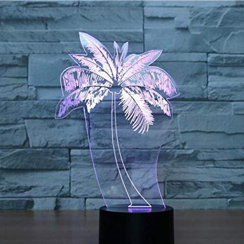 LED Luces hombres regalo árbol de coco 7 color cambiante led luz de la noche colorido táctil carga led regalo visual reloj niños control remoto interruptor táctil 3D luz erjie