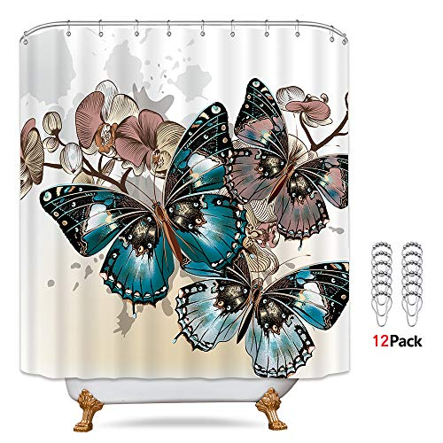 Riyidecor Butterfly Shower Curtain 72Wx72H Inch 12-Pack Metal Hooks Fabric Colorful Floral Painting Art with Butterflies Skewer Spring Insects Vintage Decor Bathroom Set Polyester Waterproof