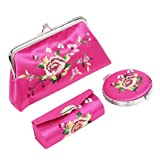 uxcell Flower Embroidered Kiss Lock Clasp Wallet Mirror Lipstick Holder Case 3 in 1 Fuchsia