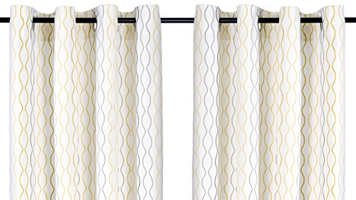 IKEA Henny Rand Curtain 1 Pair - White, Gray and Yellow Patterns
