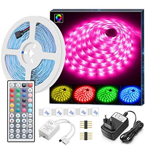 5m LED Strip, MINGER RGB LED Streifen Kit mit Fernbedienung 5050 SMD Farbwechsel LED Band für Zuhause Küche Schlafzimmer Bar Dekoration