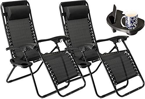 GT-LYD Set de 2 sillas de jardín Tumbona con la Taza y Soporte para teléfono, Cubierta Plegable reclinable Silla de Gravedad Cero al Aire Libre - Negro