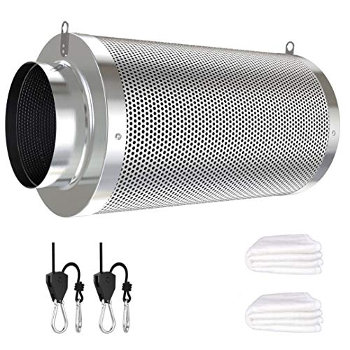 Vanleno 4inch Carbon Filter Odor Control with Australia Virgin Charcoal Two Prefilter 1 Pair Rope Hanger Included for Inline Duct Fan, Grow Tent, Hydroponics, Odor Scrubber