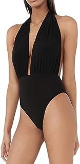 High Waisted Bikini Top Swimsuit Plunge Halter Neck Backless Stretch Bodysuit Bathing Swimwear for Women