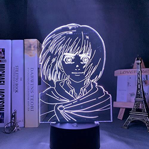 3D Night lightAnime Attack on Titan 3D Lámpara Armin Arlert Luz para Dormitorio Decoración Niños Regalo Ataque a Titán LED Noche Luz Armin Arlert ASQWZX