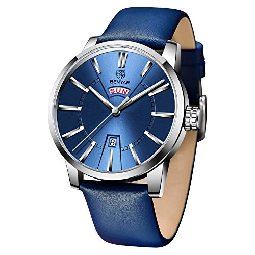 BENYAR - Stylish Wrist Watch for Men, Genuine Leather Strap Watches, Perfect Quartz Movement, Waterproof and Scratch Resistant, Analog Business Watches