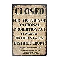 金属スズマークレトロ国家禁酒法閉鎖国家禁酒法マーク違反家庭用コーヒー壁装飾8×12インチ
