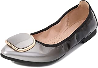 Women's Pointed Toe Flats, Large Size High Heel 1Cm Sole Soft Gradient with Round Metal Buckle Single Shoes Suitable for Daily Wear Not Tired