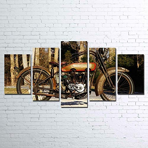 VYQDTNR Arte De Pared Grande Lienzo DecoracióN del Hogar Arte Abstracto Harley Davidson de 1920 Lienzo Mural Sala De Estar Dormitorio DecoracióN De Pared De 5 Piezas Obra De Arte
