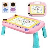 Ardoise Magique Tableau de Dessin Magnétique, Effaçable Multicolore Sketchpad pour Enfants, Coloré Jouet Educatif 3 4 5 6 ans, Rose