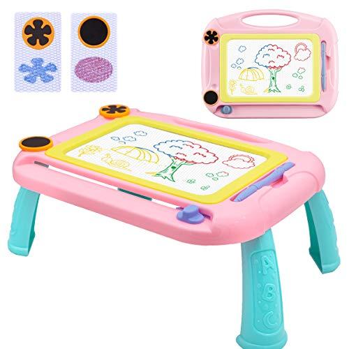 Pizarra Magnética Infantil Colorido, Doodle Sketch Pad Regalos, Juguetes Educativos, Almohadilla Borrable de Escritura y Dibujo para Niños Infantiles, Rosada