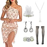 Women Halter V-Neck Sequins Tassel 1920s Flapper Inspired Party Dance Dress with 20s Gatsby Accessories Set (M, Style 2 Champagne) (Apparel)