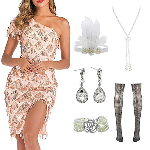 Women Halter V-Neck Sequins Tassel 1920s Flapper Inspired Party Dance Dress with 20s Gatsby Accessories Set (S, Style 2 Champagne)