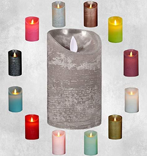 LED Echtwachskerze Kerze viele Farben mit Timer flackender Docht Wachskerze Kerzen Batterie, Farbe:Grau, Größe:15 cm