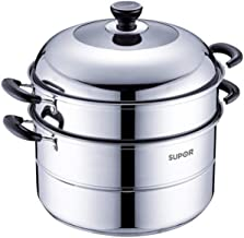 HJRD Steamer, 304 Stainless Steel, Heightening And Thickening Household 30cm, 2 Layers, Large, Universal Authentic, Compos...