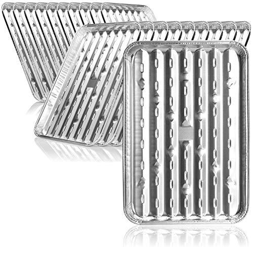 com-four® 20x Bandeja Barbacoa - Bandeja de Aluminio para Asar, cocinar y Hornear - Cesta de Verduras Barbacoa - Bandeja Acero Inoxidable para BBQ (20 Piezas - 34 x 23 x 2.5 cm)
