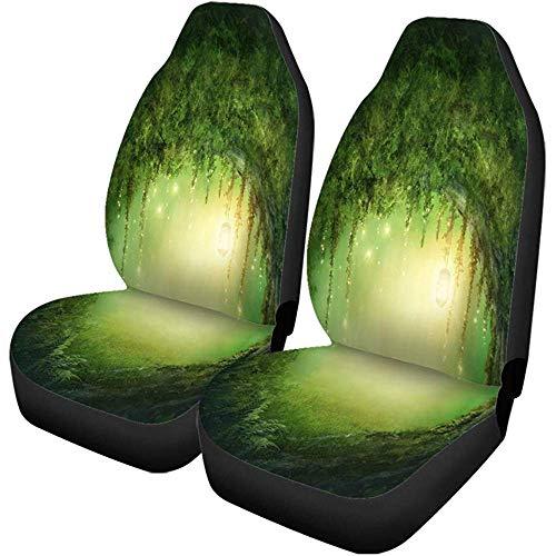 Green Adventure Autostoelhoezen, donker forest en lichter helderheid, set van 2 auto-accessoires, beschermers