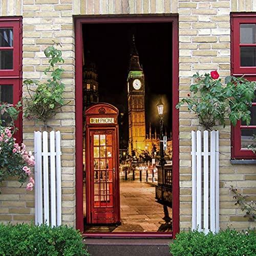 CUUDBP Etiqueta De La Puerta 3D Vista Nocturna De La Calle De Londres PVC Impermeable Autoadhesivo Pegatina De La Puerta Extraíble para La Decoración del Hogar para La Sala De Estar Dormitorio Cocina