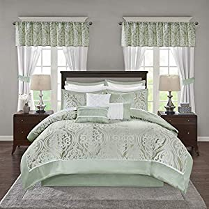 Madison Park Essentials Jordan Room in A Bag Faux Silk Comforter Luxe All Season Down Alternative Bed Set with Bedskirt…