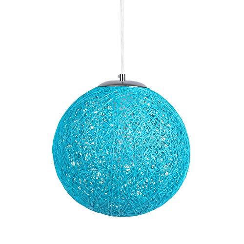 Huahan Haituo Lampadario a sospensione Sisal, paralume a sfera, in rattan, diametro 23 cm / 30 cm, E27, 20-100 W (Blu, 23 CM)