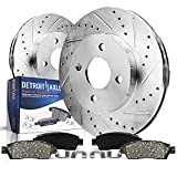 Detroit Axle - Front Drilled & Slotted Disc Rotors + Ceramic Brake Pads Replacement for Honda Civic Insight Acura EL - 4pc Set