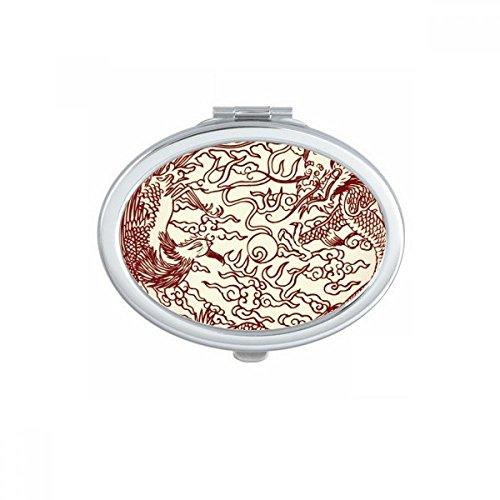 DIYthinker Chinese draak Phoenix vliegen dier portret ovaal compacte make-up zak spiegel draagbare schattige kleine hand spiegels geschenk