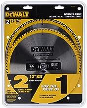 DEWALT 12-Inch Mitter Saw Blade, 80-Tooth, 2-Pack (DW3128P5D80I)