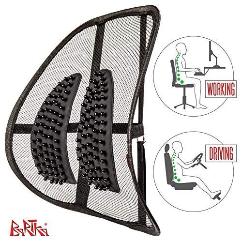 Malla Comoda de Soporte Lumbar - Soporte Ortopedico para Espalda Baja - Para Todas las Sillas de Oficina y Asientos de Carro + Tapete para Tablero de Auto Antideslizante Incluido